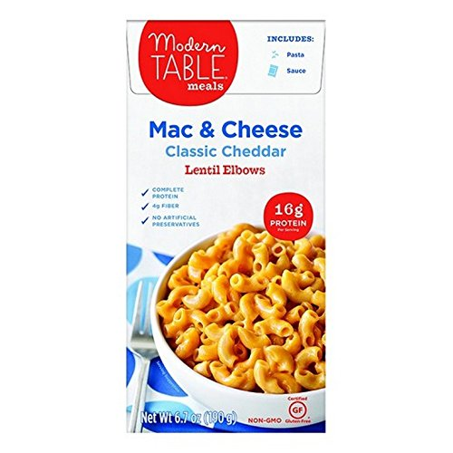 MODERN TABLE, Lentil Mac&Chs, Cheddar, Pack of 6, Size 6.7 OZ, (Gluten Free Wheat Free Yeast Free)