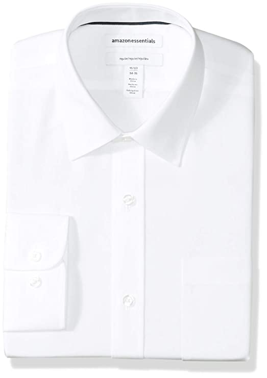 Amazon Essentials Men's Regular Fit Wrinkle Resistant Long Sleeve Solid Dress Shirt by Amazon Essentials