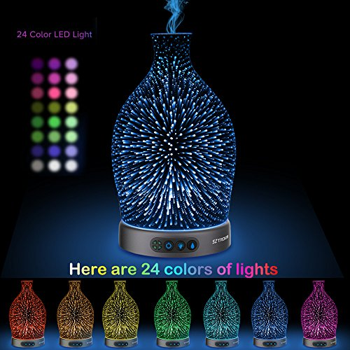 SZTROKIA Essential Oil Diffuser, 300ml Aromatherapy Ultrasonic Cool Mist Humidifier, Color Changing LED Lights with 3D Effect and Waterless Auto Shut-off, Durable Metal Base (Vase)