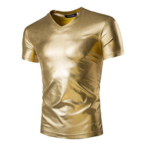 Pheobe Bee Men's T Shirt V Neck Metallic Shiny Slim Fit Short Sleeve Pullover Nightclub Wear Summer Fashion (Gold, XXL) ()