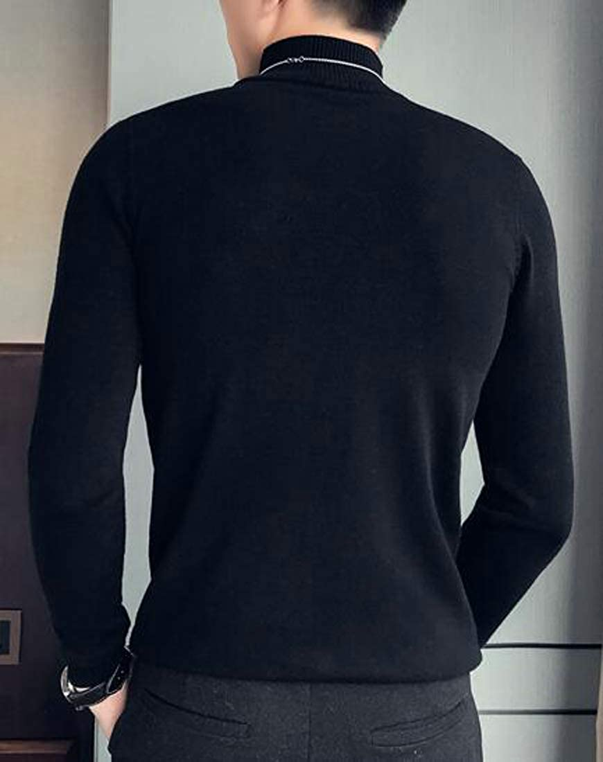 Pandapang Mens Embroidery Pullover Mock Turtle Neck Slim Fit Knitted Sweaters