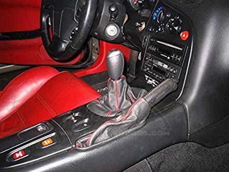 RedlineGoods Shift Boot Compatible with Mazda RX7 1993-02 Black Leather-Red Thread