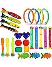 مجموعة جامبو من 25 قطعة من ألعاب بركة الغوص مع حقيبة تخزين تتضمن (5) عصي غوص، (4) خواتم غوص، (6) كنوز القراصنة، (3) كرات لعبة الغوص، (3) ألعاب السمك، (4) الأخطبوط