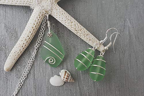 (Handmade in Hawaii, wire wrapped peridot green sea glass necklace + earrings jewelry set,