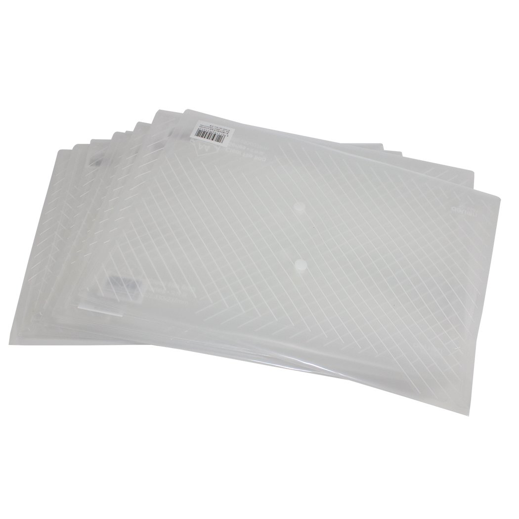 Zoohot folder with pockets,DELI Premium Quality Poly Clear Document envelopes with Snap Button, US Letter or A4 Size,Water/tear Resistant, Pack of 10,White