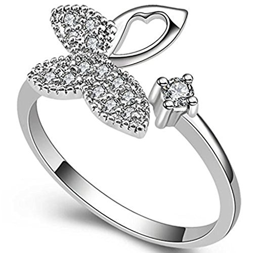 (Gieschen Jewelers 'Penelope' 18k White Gold-Plated CZ Pave Butterfly Ring, Size 7)