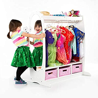 Guidecraft Dress Up Storage - Kids' Costume Dresser, Armoire with Rack, Toy Bins and Full Mirror - Toddlers Playroom Organizer, Children Room Furniture