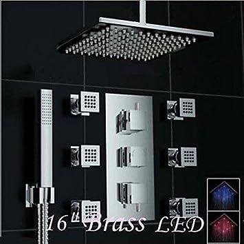 Exceptional Rozin Thermostatic 16u0026quot; Ceiling Mount LED Rain Shower Faucet 6 Massage  Jets ...