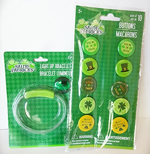 St Patrick's Day Light Up Bracelet and Button (Halloween Themed Restaurant Nyc)