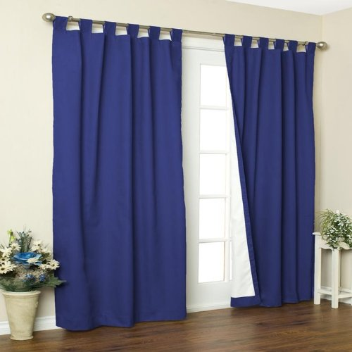 Weathermate Solid Insulated Color Tab Top Curtain Pairs in Navy Size: 54