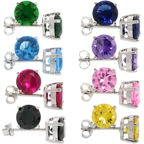 (8 Colors Set Sterling Silver CZ Stud Earrings 2 1/2 carat/pair Basket Set Rhodium Finish Assorted Colors)