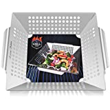 Grill Basket, Vegetable Grill Basket Stainless Steel Veggies Grill Basket with Handle BBQ Grilling Accessories for Shrimp Fish Meat Kabob Work as Wok Pan or Smoker on Gas Charcoal Gas Grill BBQ