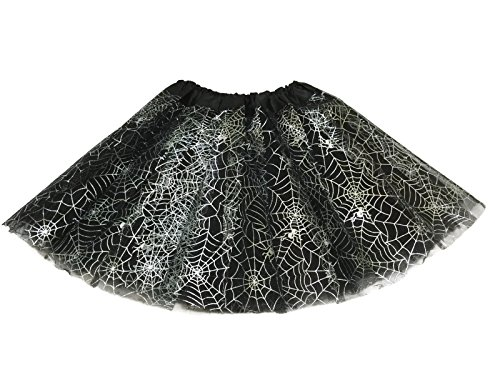 Spider Dance Costume (Rush Dance Ballerina Recital Halloween Black & Silver Spider Webs Costume Tutu)