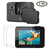 [2-Pack]Hapurs Lens Cap and Lens & Screen Protector,2 Pack Protective Lens Cover Case and 2 Set Anti-scratch Tempered Glass Screen and Lens Protector for GoPro Hero 5 Black Action Camera