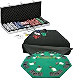 Bundle Includes 3 Items - Fat Cat 11.5 Gram Texas Hold 'em Clay Poker Chip Set with Aluminum Case, 500 Striped Dice Chips and Trademark Poker Deluxe Solid Wood Poker and Blackjack Table Top with Case