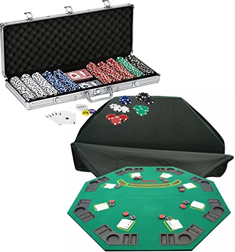 Bundle Includes 3 Items - Fat Cat 11.5 Gram Texas Hold 'em Clay Poker Chip Set with Aluminum Case, 500 Striped Dice Chips and Trademark Poker Deluxe Solid Wood Poker and Blackjack Table Top with Case by Island Time Brands
