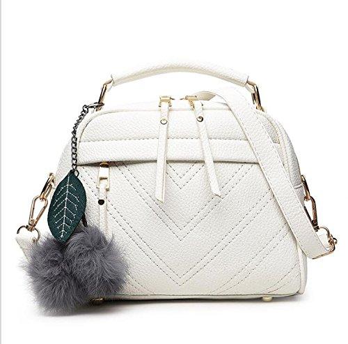 Ome & Qiumei Women Cross Body Bag Shoulder Bag Woman Bags 22 * 12 * 17cm White Gray