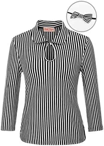 Belle Poque Womens 3 4 Sleeve Vintage Blouse Stretch Stripe Top with Bow  Tie BP789 2b797e4c4