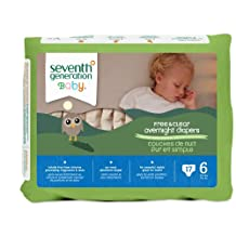 Seventh Generation Baby Free and Clear Overnight Diapers, Size 6, 17ct, Packaging May Vary