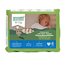 Seventh Generation Baby Free & Clear Overnight Diapers, Stage 6, 17 Count (Pa...