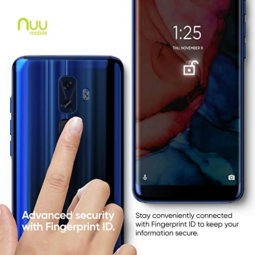 NUU Mobile G3 Unlocked Smartphone 64GB + 4GB RAM (Rear & Front Camera) HD+ Display Android 8 Cell Phone Sapphire Blue