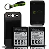 Samsung Galaxy SIII 2x 4300mAh Extended Battery + Black Cover + Battery Charger w/ USB Output + Exclusive Black And Green Color Key Chain Kit