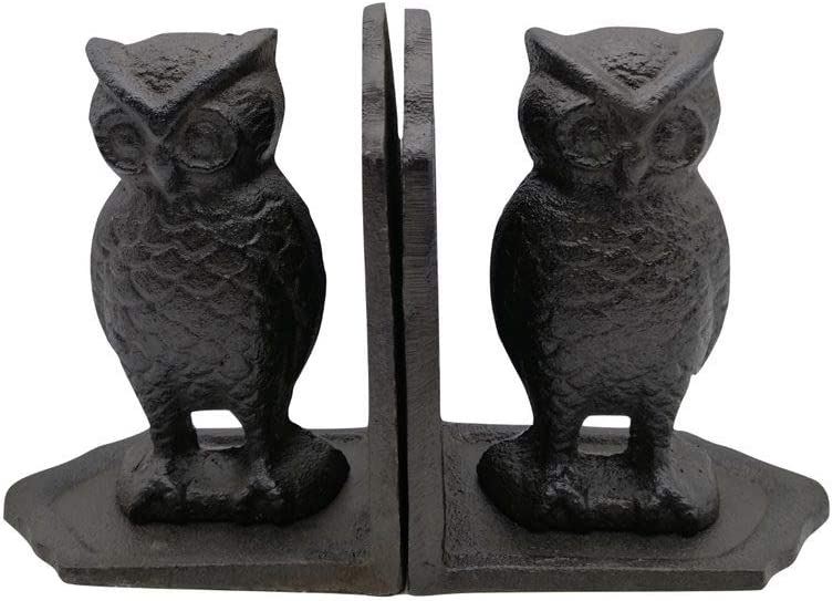 Comfy Hour Antique & Vintage Interior Decor Collection, Animal Edition Cast Iron Set of 2 Owls Bookends Art Bookend, 1 Pair, Antique Black, Heavy Weight
