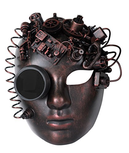Arsimus Adjustable Steampunk Burning Man Mechanical Full Face Masquerade Mask (Copper) by Arsimus (Image #1)