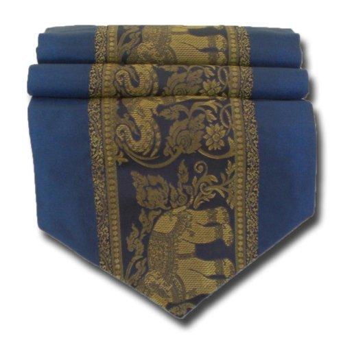 tablecloth tablerunner table runner linen Thai Silk Elegant Elephant many colors black blue red winered brown white gold purple green two sizes 150 cm or 200 cm long TC001-TC010 (blue, 150 cm x 33 cm) -