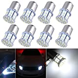 AutoEC Super Bright 1156 1073 1093 50-SMD White LED Bulbs For Car Rear Turn Signal lights Interior RV Camper 8-pack