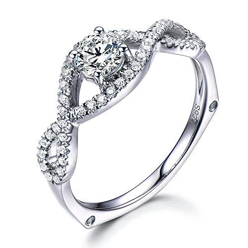 Moissanite Engagement Ring 14K Gold Round Shape Cross Half Eternity Diamond Wedding Band Bridal Jewelry by Milejewel moissanite engagement rings