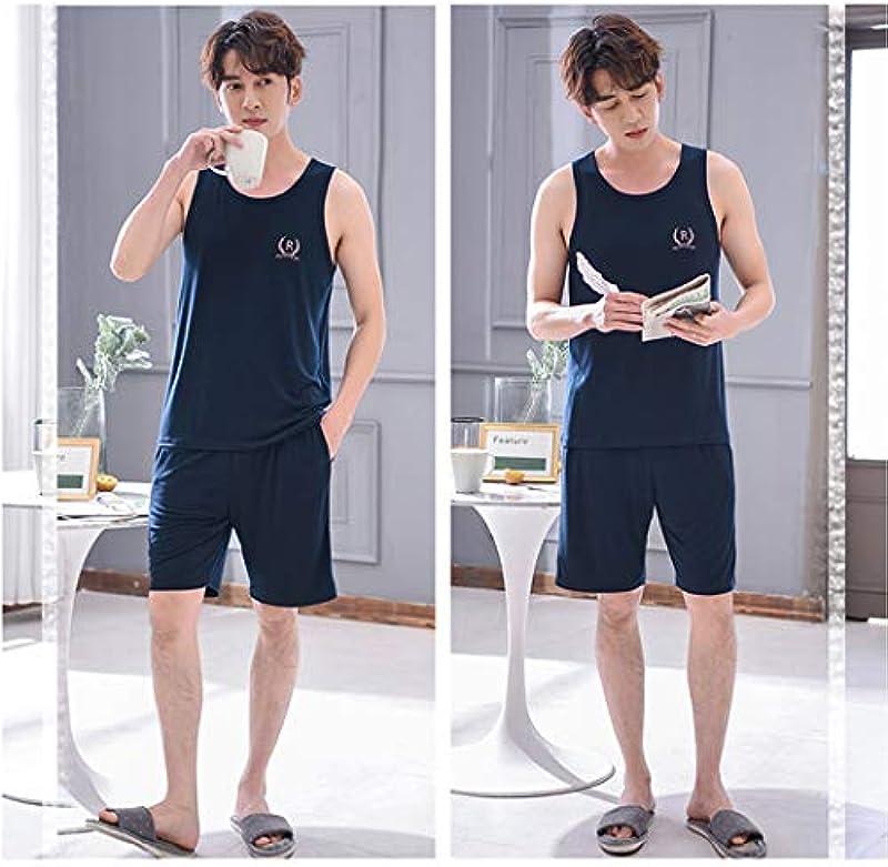 HQ-PJS Schlafanzüge Männer-Pyjamas Modalfasern Pullover Top Hosen-Sommer-Sportswear Modal Kurzärmeliger Shorts Nachtwäsche Loser Anzug Vest Ärmel (Color : C, Size : L): Küche & Haushalt