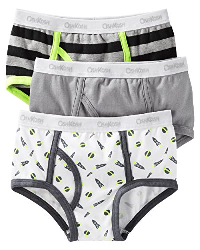 Carter's OshKosh Little Boys' 3 Pack Cotton Briefs (12, Rockets(32122114) / Planets/Grey/Stripes/White) (Planet Underwear)