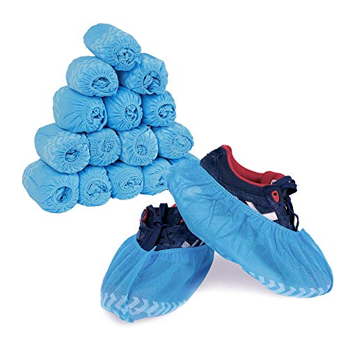 Premium Disposable Boot & Shoe Covers | 300 Pack of 100 Large,100 XL,100 XXL (Size US Men's 10+ & US Women's 8+) | Extra Thick, Non-Slip, Floor & Shoe Protectors ()