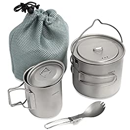 HOMFUL Camping Cookware Titanium Cooking Set,1100ML 420ML Camping Pots Cup Mug,Titanium Spork with Mesh Bag for…