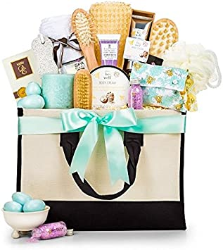 GiftTree Tranquility Spa Collection Gift Basket Relaxing Gift of Bath Salts, Fragranced Soaps, Candles and More