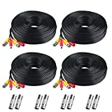 Cheap BNC Cable, 200ft 4Pack All-in-One Siames Video Power Security Camera Wire Cord 2 Female Connectors All HD CCTV DVR Surveillance System (4x200FT BNC Cable Black)