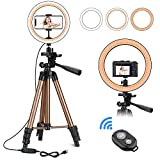 "PEYOU 10"" Selfie Ring Light with 50'' Tripod Stand for Live Stream Makeup, LED Ring light for YouTube Video/Vlog/Photography, Circle Light w/Remote Shutter and Phone Holder Compatible for iPhone 11 Pro Max Xs Max XR X 8 7 6 Plus & Android Phones"
