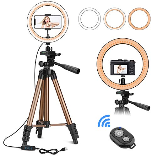 PEYOU 10″ Ring Light with 50″ Tripod Stand & Phone Holder for Makeup Live Stream, LED Camera Ring Light Kit with Remote Shutter for Photography and YouTube Video, Compatible with iPhone & Android