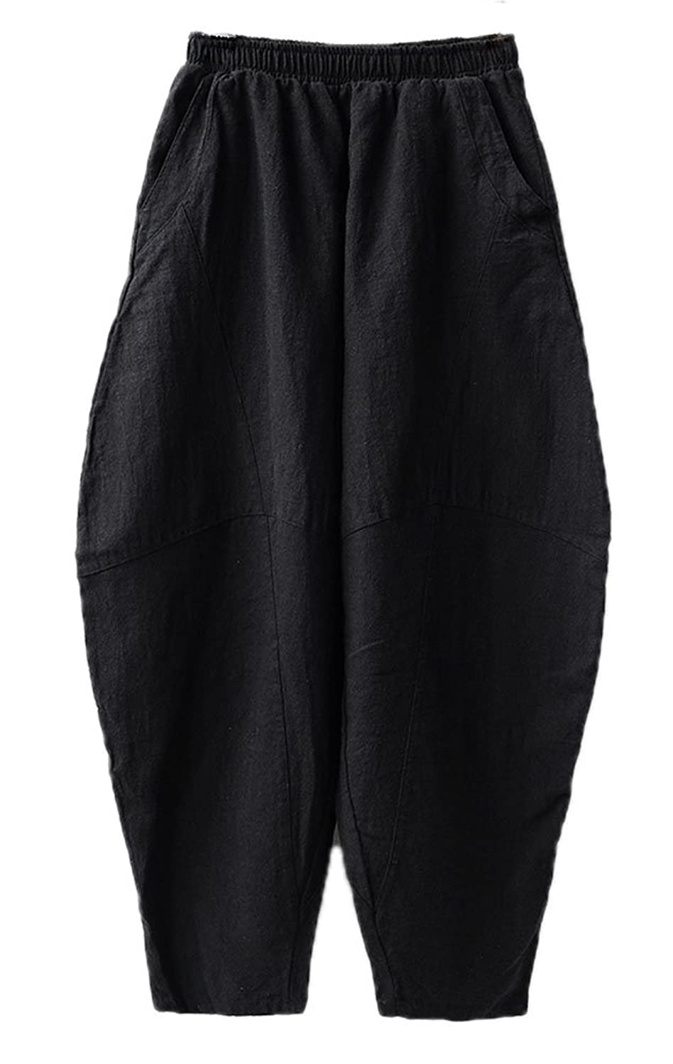 Soojun Women's Casual Baggy Linen Pants Yogo Bloomers Trousers