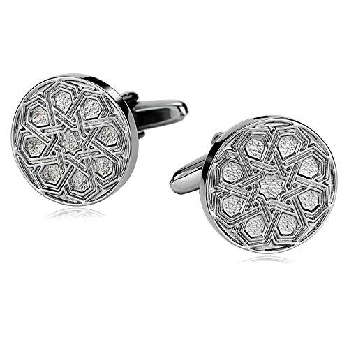 (Daesar Jewelry Stainless Steel Cufflinks for Men Celtic Woven Mesh Round Silver Cufflink)