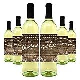 Wine Bottle Labels for Wedding Gift, Milestones, Bridal Shower, Engagement Party, Bachelorette Party, or Wedding Gift – Set of 6 (Rustic Wine Bottle Labels)