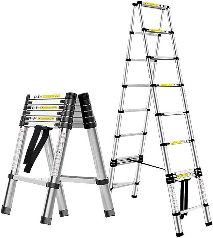 Escalera extensible Escalera telescópica En Varias Posiciones De Aluminio Telescópica Escalera - Plegable A-marco De La Escalera De Extensión for Escaleras Loft Roof Top Camper Carpa, 330lb Capacidad: Amazon.es: Hogar
