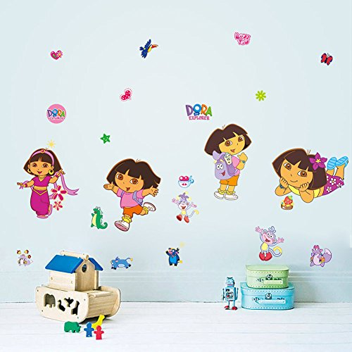 Fange DIY Removable Disney Dora Art Mural Vinyl Waterproof Wall Stickers Kids Room Decor Nursery Decal Sticker Wallpaper 35.4''x11.8''