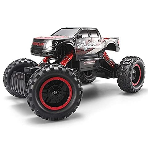 Blexy RC Car Rock Crawler 2.4Ghz 4WD Remote Control Vehicle High Speed 1:14 Off-Road Monster Truck Electric Racing Buggy with LED Headlights - Red Monster Truck