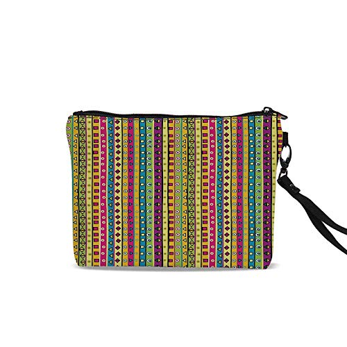 Retro Travel Cosmetic Bag,Colorful Striped Abstract Pattern Triangles Squares and Kaleidoscope Fun Shapes Art Print For Women Girl,9