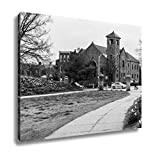 Ashley Canvas Saint Elizabeth Catholic Church From Patterson Park In Baltimore, Wall Art Home Decor, Ready to Hang, Black/White, 16x20, AG6329044