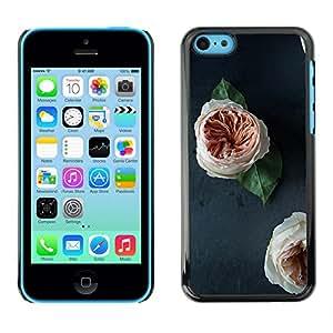 For Apple iPhone 5C Case , Blossoms White Orange Decoration - Diseño Patrón Teléfono Caso Cubierta Case Bumper Duro Protección Case Cover Funda