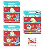 Looney Tunes Party Supplies Birthday Taz Tweety Bird and Bugs Bunny Baby Shower Plastic Favor Treat Bags Bundle of 24
