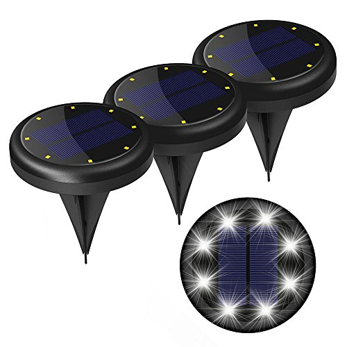 [4-Packs] Vintar LED Solar Ground Lights, In-Ground Waterproof Lights With 8 LEDs for Garden Pathway Yard, Driveway, Lawn.